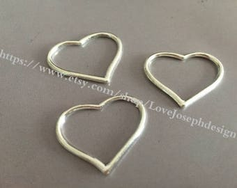 wholesale 100Pieces /Lot Antique Silver Plated 22mmx28mm heart charms (#014)