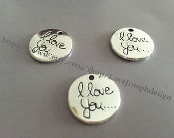 wholesale 100 Pieces /Lot Antique Silver Plated 20mm i love you charms (#089)