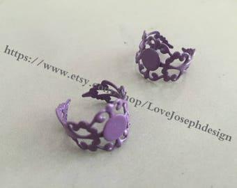 10 Pieces /Lot 8mm purple adjustable filigree pad bezel ring blanks(#0358)