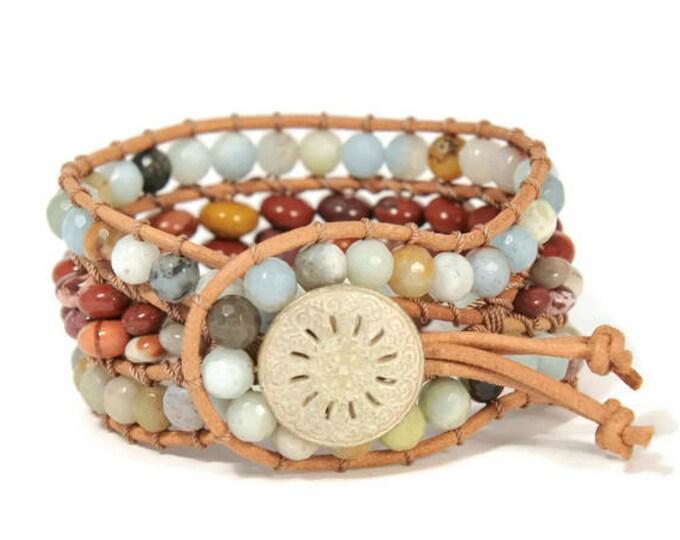 Boho Aithra * 3 strand Wrap Bracelet. Boho Style. Bohemian Jewelry. Semiprecious stones. Gift for her. Cuff Bracelet.