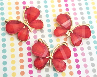 4pcs- 30mm Decoden red butterfly cabochon gold alloy acrylic flatbacks pendant charm accessories kawaii jewelry supplies phone case deco