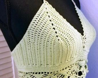 crochet festival crop top with lace torso trim