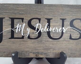 """Jesus, My Deliverer 6"""" x 12"""" ceramic tile sign, inspirational, Christian art, biblical art"""