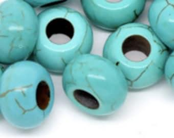 2 Perles à Gros Trou imitée Turquoise - Motifs bleu craqué Env. 14mm Dia, Tailles de Trous: 5.6mm