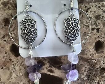 Amethyst stone owl earrings