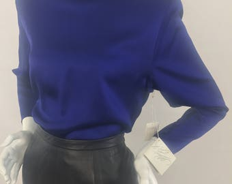 Vintage Lord & Taylor 100% Silk Navy Blue Blouse with Cow Neck/DEAD STOCK (New w/Tags)/Size 12 Large