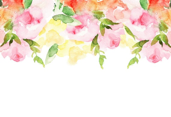 Watercolour Flower Border Background Clip Art Digital Download PNG Vector AI High Resolution Q51