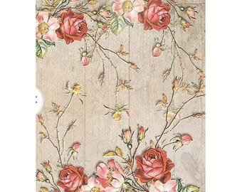 1 sheet of 21 x 28 cm pink rose 1182 collage decoupage rice paper