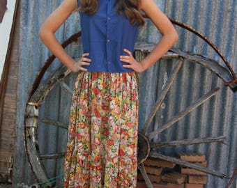 70's peasant skirt floral shirred waist, cotton, with frill