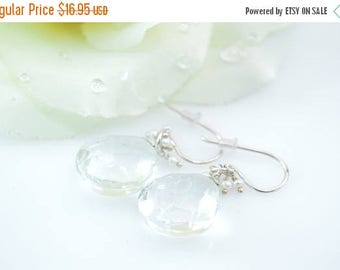 HUGE Sale Petite Pearl Bead Accented Faceted Clear Stone Earrings Sterling Silver 7.8g