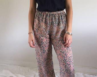 Vintage 90s Sheer Silk Chiffon Polka Dot Lounge Pants | M