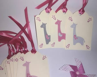 Label (set of 10) gift - birthstone - giraffe - pink and gray