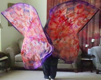 Prophetic - Silk Flag - Worship Flag - Praise Dance - Dyed Silk - Prophetically Hand-Dyed Large Spin Wings called Courageous