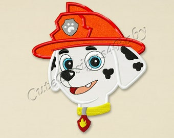 Paw Patrol Marshall Head applique embroidery design, Paw Patrol Machine Embroidery Designs, designs for baby, Instant download #004