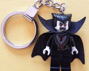 Vampire / Dracula Halloween Minifigure  Keychain - Handmade made from LEGO Parts