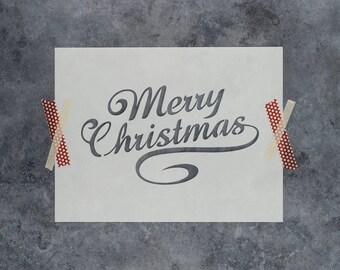 Christmas Stencil - Reusable DIY Craft Stencil of Merry Christmas Words