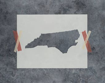 North Carolina State Stencil - Hand Drawn Reusable Mylar Stencil Template