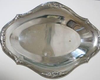 Kreuzband Silber Schale oval, Frankreich, Art Nouveau, Jugendstil