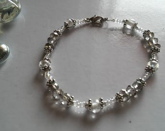 Gray and Silver Beaded Bracelet