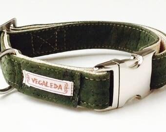 Dog collar, green, vegan, 2, 5 cm wide, various sizes, adjustable buckle 39,00