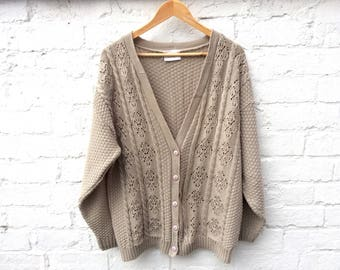Knit cardigan, oversized vintage cardi, taupe knitwear, women's fashion