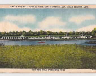Sealy Springs Alabama AL Sealy's Hot Salt Mineral Well Modern Hotel Motel Vintage Postcard