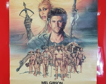 SALE 1980's Mad Max Poster / Antique Madmax Mel Gibson Movie Advertisement 80 90s Nerd Pop Culture Art Deco Collectible Movie Poster