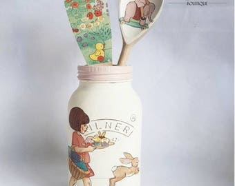 Belle and Boo Shabby Chic Hand Painted Kilner Jar and Wooden Spoon Trio Set Birthday/Baby shower/Christening/New Baby/Wedding Gift