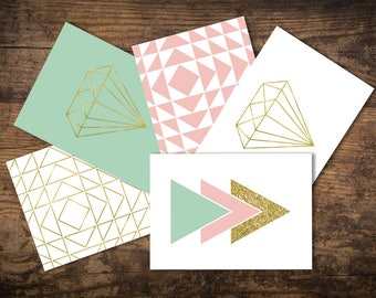 Set of 5 A6 Geometric Postcards, Mint, Pink and Gold, Diamonds, Triangles, Pastels and Glitter, A little note to say...