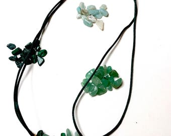 Choker adjustable neck or long gemstone necklace