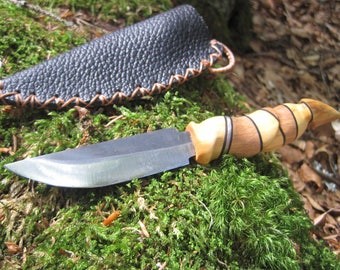 Straight knife with Leather Sheath