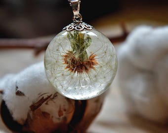 Real dandelion - Dandelion resin pendant- Eco Resin Jewelry-whole dandelion-dandelion resin necklace-Dandelion Seed Head