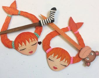 Pre Order/Customorder Pippi Long stocking shawl pin, cover cloth pin. Zoownatas