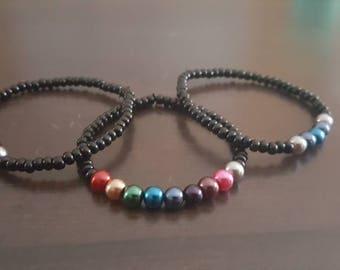 Rainbow Beaded bracelet, stretch cord, handmade, blue bracelet, purple bracelet, costume bracelet,