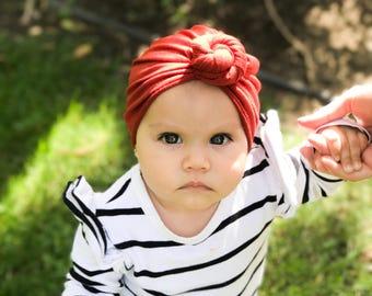 Burnt orange, baby turban, knot turban, baby hat
