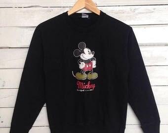 Sale 15% Rare !! Mickey Since 1928 Sweatshirt Big Logo Print Crewneck Black Colour Size M #A4