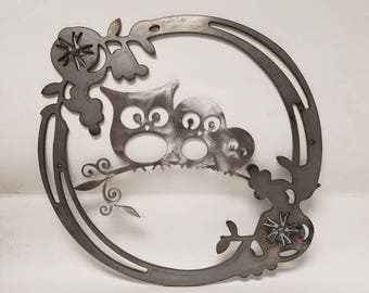 Family of Hoot Owls on a Branch within a Flowery Wreath * Metal Wall Art to Hang on Your Door, Wall, Barn, Deck, Fence, or any Other Place!