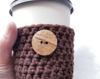 Rustic Crochet Cup Sleeve - Raw Wood Button Neutrals Everyday Cup Sleeve in Dark Chocolate