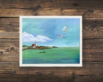Fisgard Lighthouse Print, Victoria, British Columbia, Canada, Lighthouse Print, Ocean Print, Oceanscape, Nature Painting, Beach, Nautical