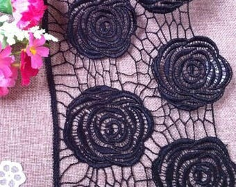 Vintage Black Hollow Rose Flower Lace Trim 5.90 Inches Wide 1.09 Yard/ Craft Supplies, WL1751