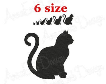 cat embroidery design cat silhouette cat mini design halloween cat design animal - Black Cat Silhouette Halloween