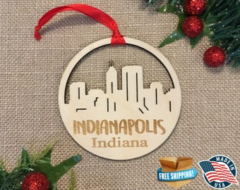 Indianapolis Indiana Ornament *** Skyline Christmas Holiday Ornament *** IN