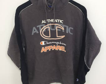 Vintage 90s CHAMPION Hoodies / Big Embroidered Logo / Spell Out / Multicolor / Alloverprint / Nice Design Size 160 (Medium)