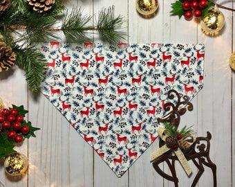 Christmas Dog Bandana, Reindeer Dog Bandana, Over the Collar Dog Bandana, Puppy Bandana, Christmas