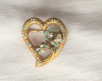 Estate 14k Yellow Gold Vintage Heart Blue Flower Brooch Pin Enamel Victorian Solid 1.9g Embossed Victorian 14kt 14 k kt Antique White Pearl