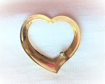 "Vintage 14k Yellow Gold Diamond Floating Heart Pendant 3/4"" for Necklace Chain Estate Marked 14 k kt 14kt Love Kisses Figural XXOO Large Big"