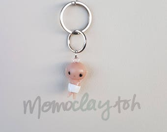 Handmade polymer clay cute naked shower man key-chain