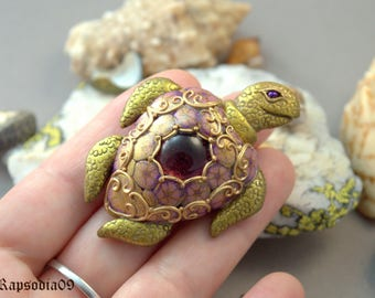 Brooch jewelry turtle Turtle brooch Turtle jewelry Statement jewelry Polymer clay jewelry Animal jewelry Christmas gift