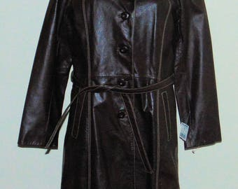 New Old Stock NWT Vintage Wilsons Maxima Brown Leather Coat Size M