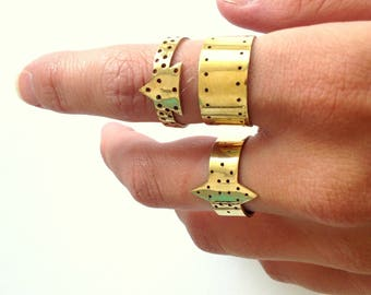 Gold plated geometric diamond ring